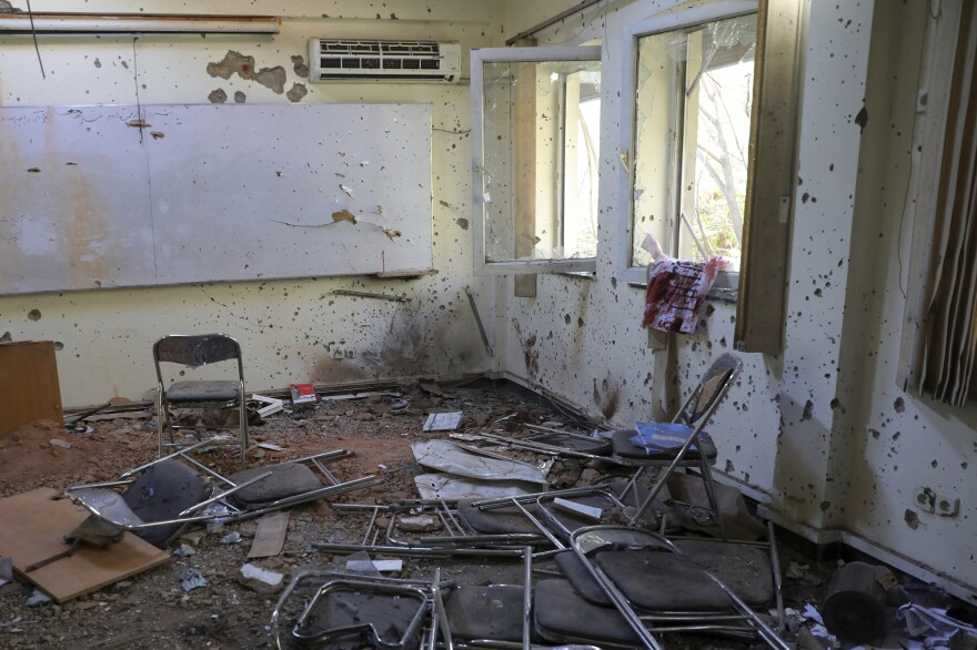 A view of a damaged room at the Kabul University following a deadly attack on Nov. 3. The day before, gunmen stormed the university, leaving many dead and wounded.