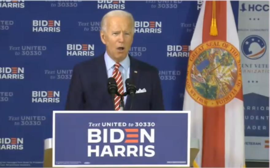 Joe Biden speaks at a veterans event in Tampa