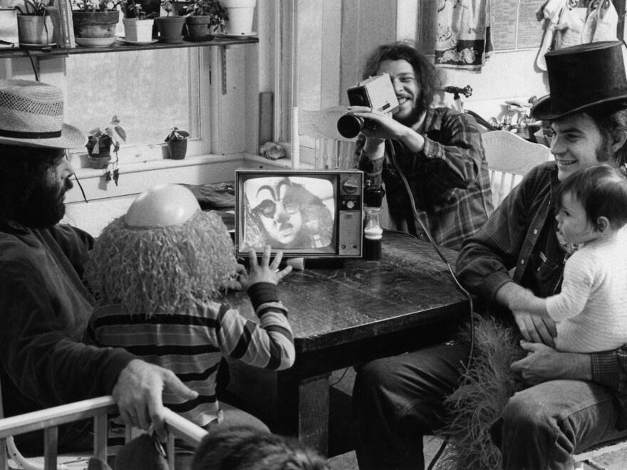 From left, Videofreex David Cort, Bart Friedman and Parry Teasdale filmed kids' programs and daily goings-on in 1973 at their Maple Tree Farm in Lanesville, N.Y.