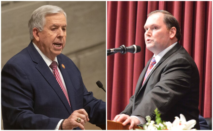 The relationship between Missouri Gov. Mike Parson (left) and House Speaker Rob Vescovo came into focus recently after the governor publicly expressed his displeasure over the State of the State being moved.