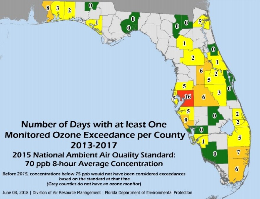 Between 2013 and 2017, Hillsborough County had the most polluted air in Florida with 16 days where it exceeded smog concentrations. No other county came close to that.