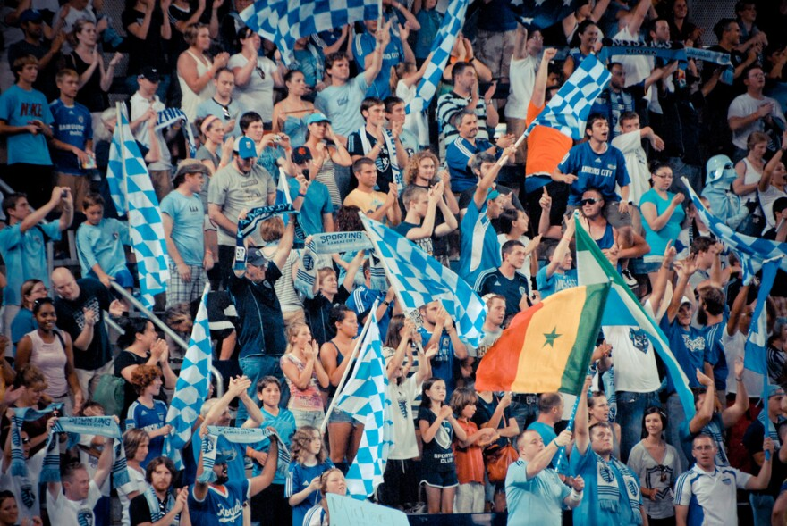Photo of Sporting KC fans in the Cauldron section of Children's Mercy Park