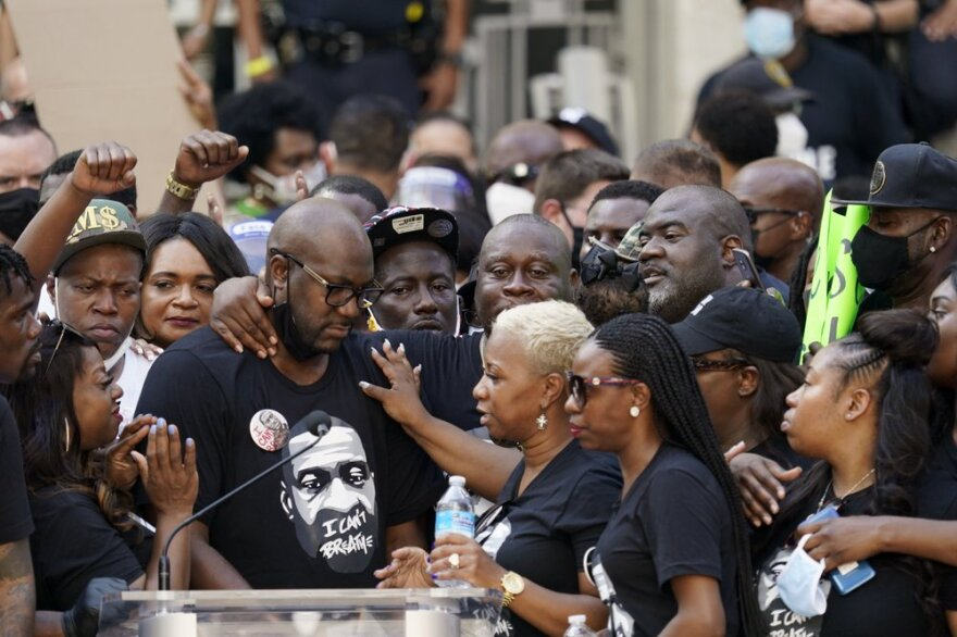 Members of George Floyd's family speak during a Houston rally on Tuesday, June 2, 2020