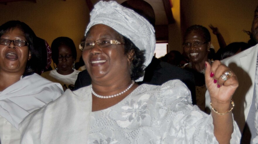 President of Malawi Joyce Banda attends a protest against abuse of women in January 2012.