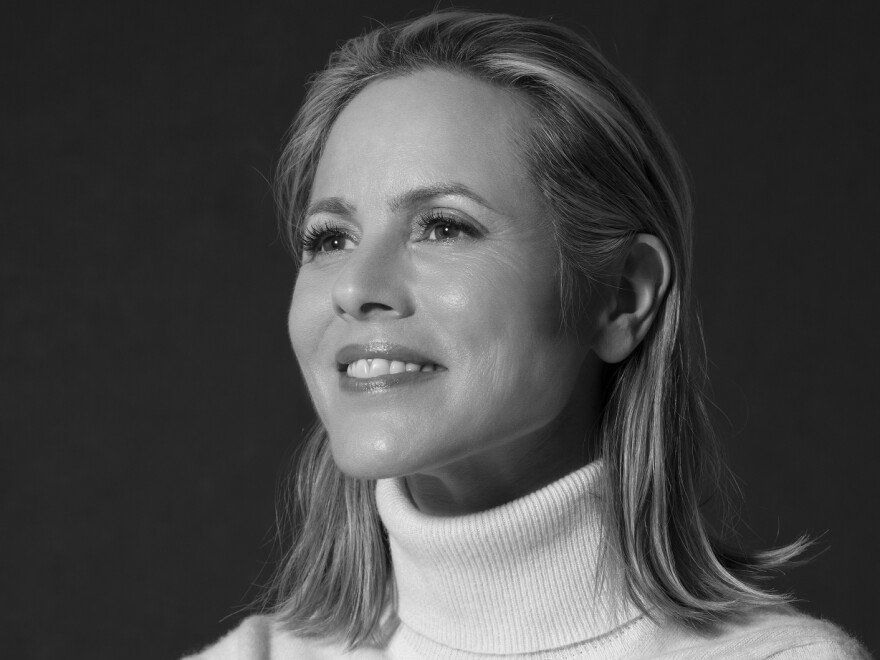 "Maria Bello says co-parenting with her son's father is complicated. ""We communicate as much as we can. We talk about it, but it's certainly not easy,"" she says."