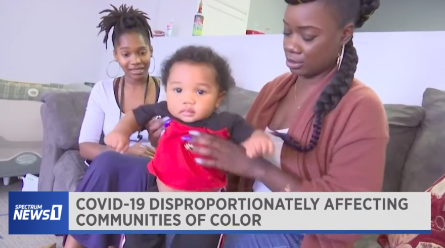 screenshot of Spectrum News 1 story on COVID-19 impacts on communities of color