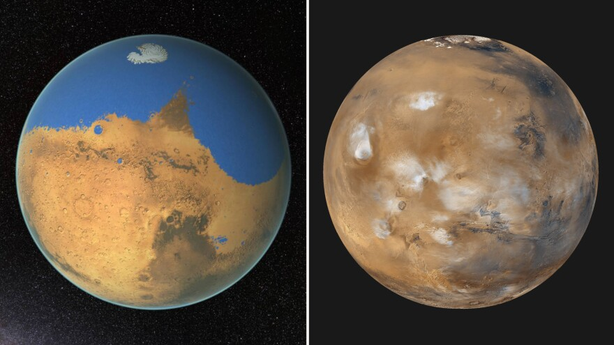 Left: An artist's conception of early, wet Mars. Right: Modern-day Mars is dry and cold.