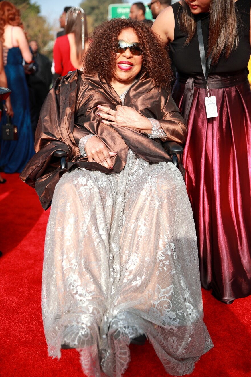 Roberta Flack on the red carpet at the Grammy Awards on January 26, 2020, where she was given a lifetime achievement award by the Academy.