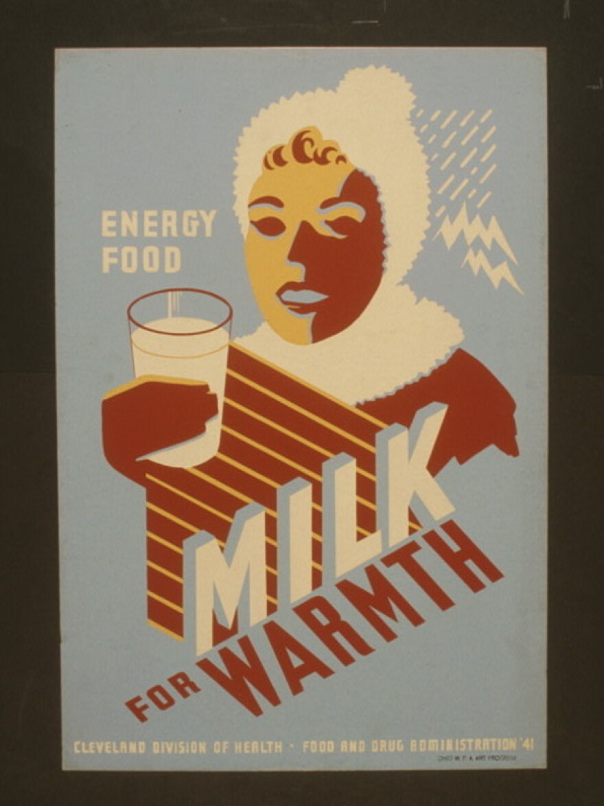 """This 1940s poster from public health agencies promotes drinking cow's milk for """"food"""" and """"energy."""""""
