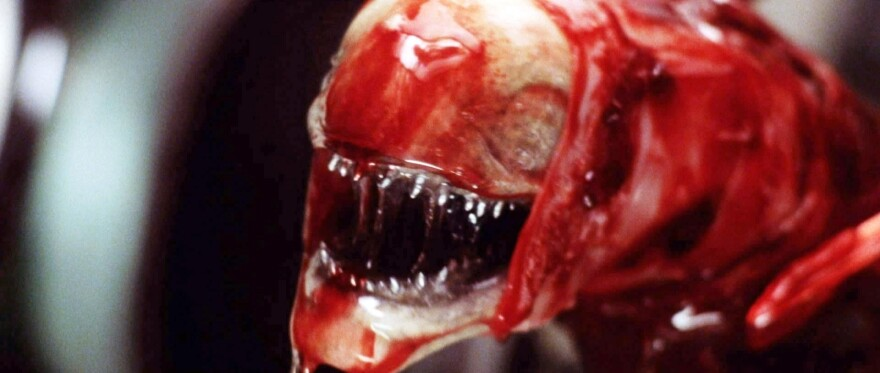 "The ""chestburster"" is one of the many deeply unsettling images of 1979's <em>Alien,</em> probably the best-known work of designer H.R. Giger. Giger's original chestburster design changed substantially as he inched toward this final version with director Ridley Scott and others."