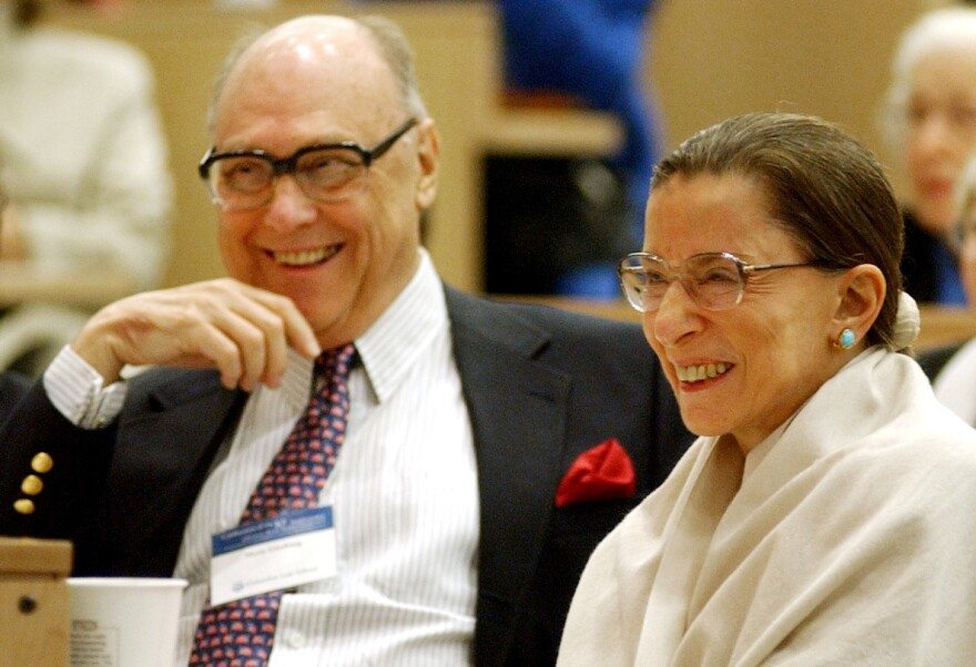 "Justice Ruth Bader Ginsburg shares laugh with her husband, Martin, at an event at Columbia Law School in 2003. Martin Ginsburg, or ""Marty,"" passed away in 2010."