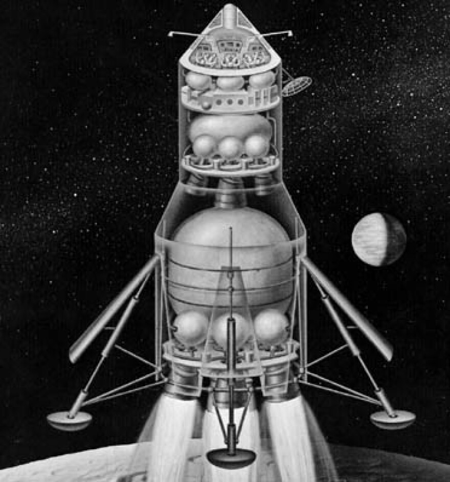 An early NASA concept for a lunar landing using the direct ascent method.