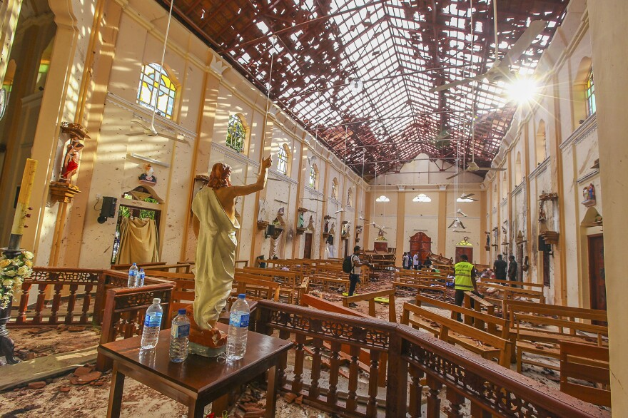 St. Sebastian's Church was targeted in a blast on Easter Sunday in Negombo, north of Colombo, Sri Lanka.