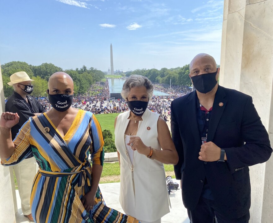 Rep. Joyce Beatty (D-Ohio), center, spoke Friday, Aug. 28, 2020 at the March on Washington.