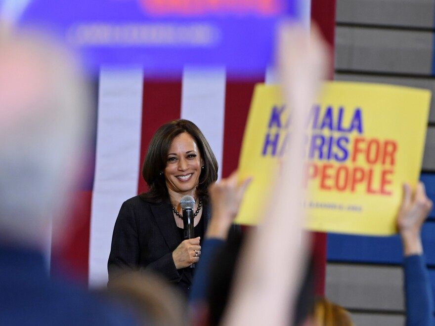 Sen. Kamala Harris, D-Calif., speaks during a town hall meeting at Canyon Springs High School in North Las Vegas, Nev., in March.