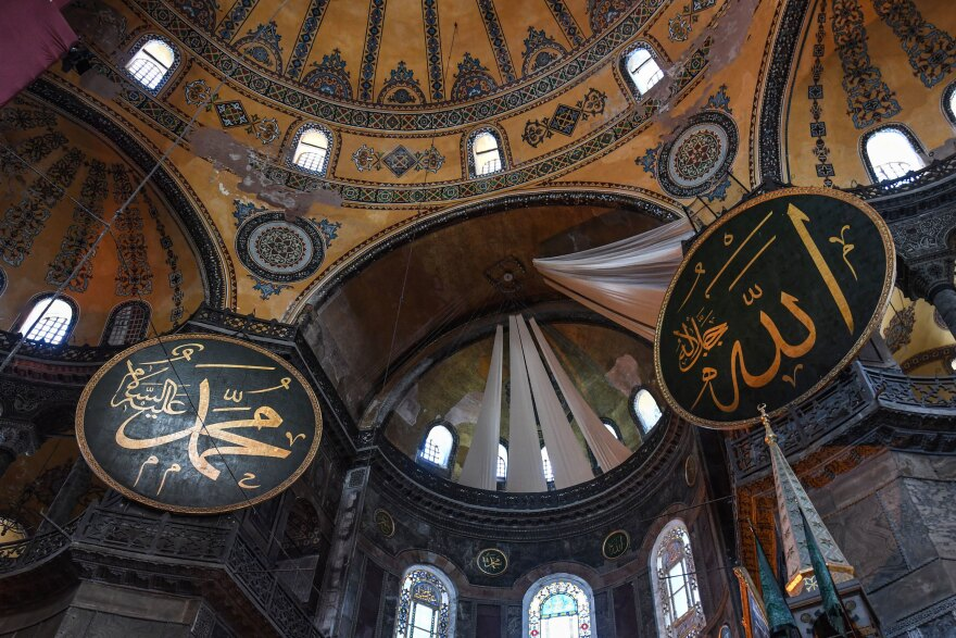 A view of the ceiling inside Hagia Sophia on Friday.