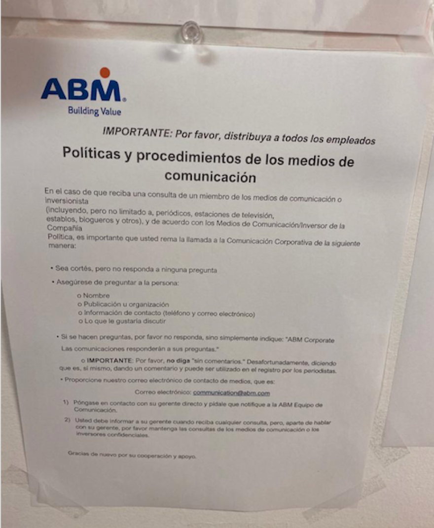 A notice distributed to University of Miami subcontracted employees instructs them not to talk to the media and instructs any questions to be directed to ABM Corporate Communications.