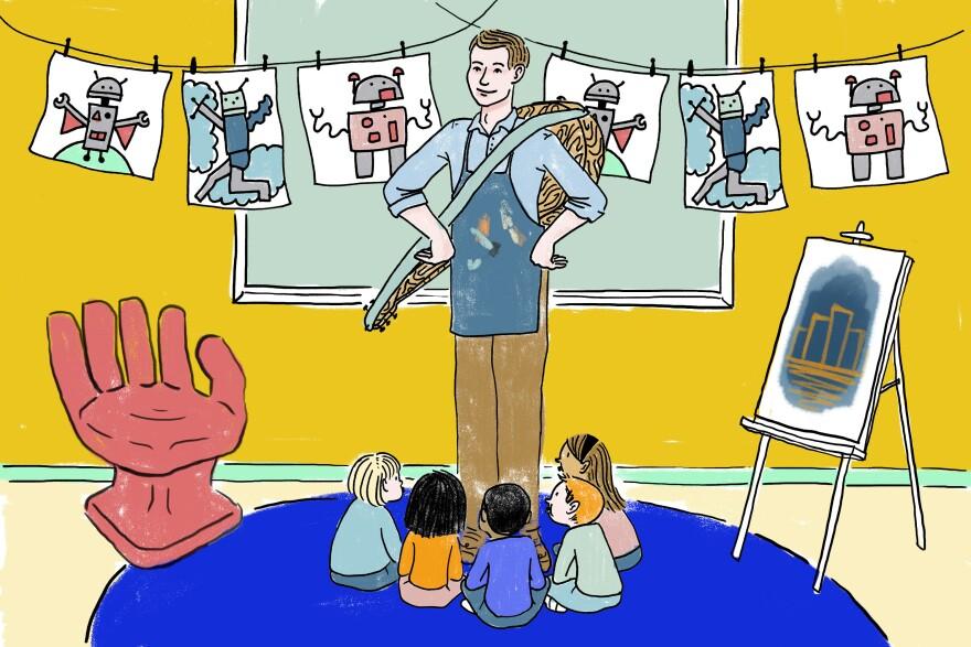 Art teacher Jimi Herd and his kindergartners.