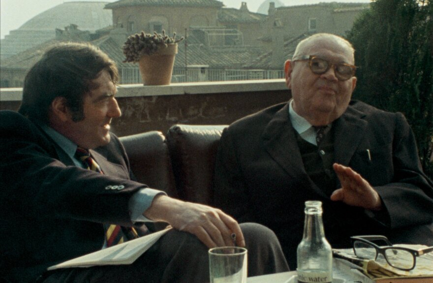 In 1975, <em>Shoah</em> director Claude Lanzmann (left) interviewed Benjmain Murmelstein, the last surviving Elder of the Jews of the Czech Theresienstadt ghetto, at his home in Rome. The resulting film is <em>The Last of the Unjust.</em>