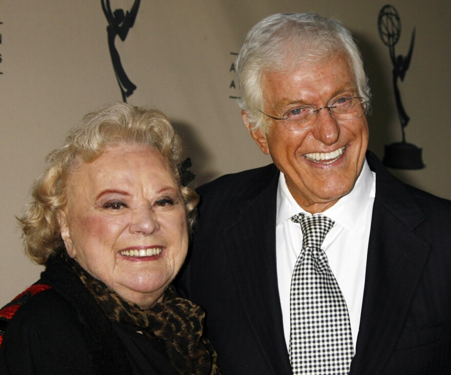 Actors Rose Marie and Dick Van Dyke, who starred in the 1960s television comedy series <em>The Dick Van Dyke Show</em>, pose as they arrive at the Academy of Television Arts & Sciences in Los Angeles in 2006.