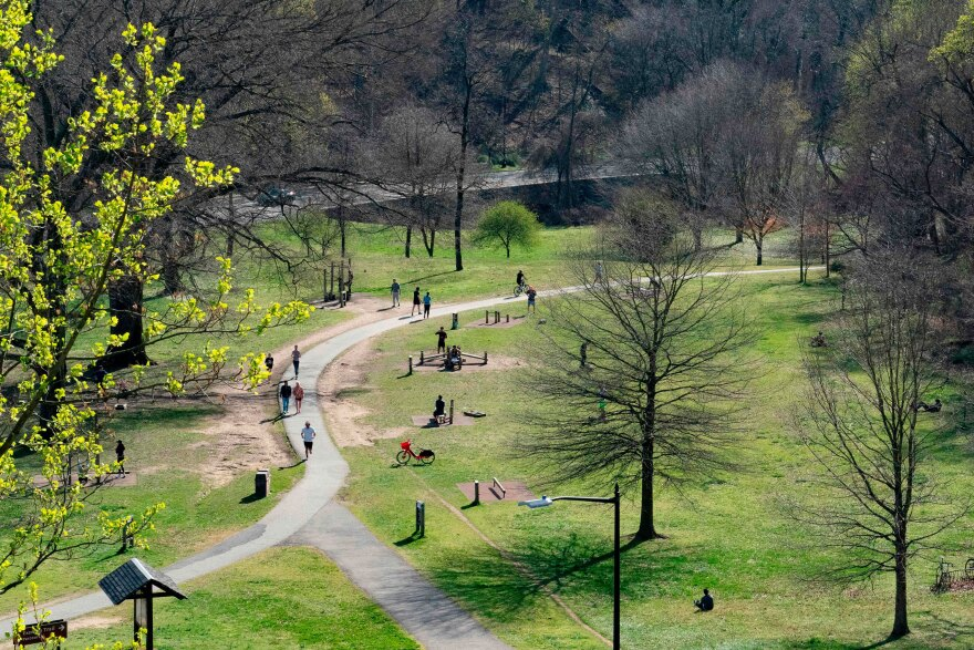 People enjoy the Rock Creek Park in March in Washington, DC. While many Americans are following social distancing guidelines, others are not, and that worries people concerned about the spread of the coronavirus.