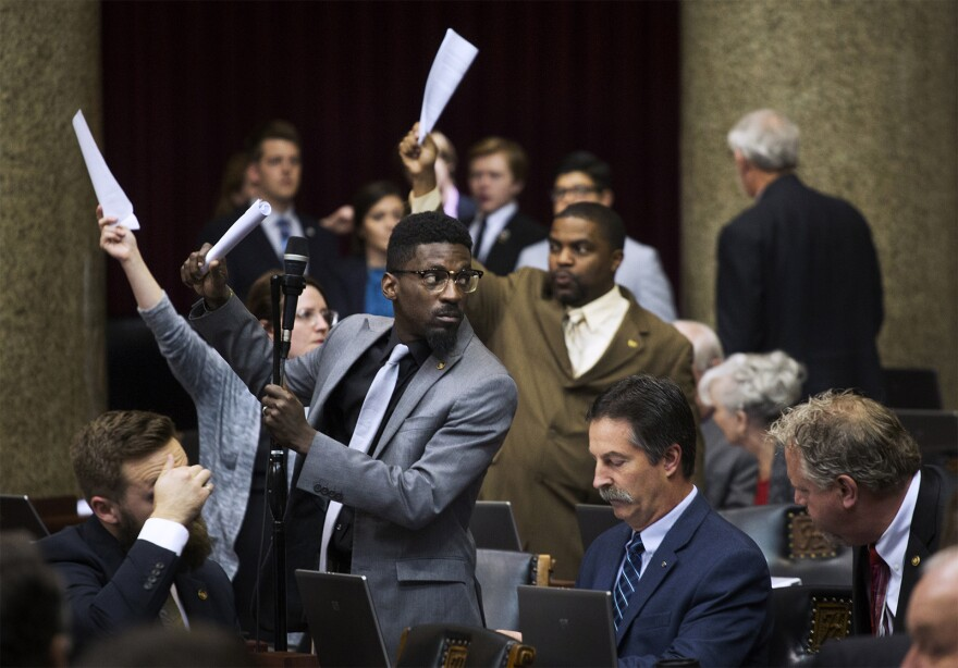 State Rep. Bruce Franks Jr. speaks on the last day of the legislative session in Jefferson City in May 2017.
