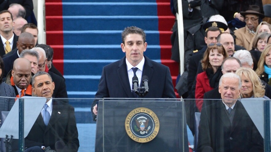 "Richard Blanco reads his poem ""One Today"" during President Obama's second inaugural, on Jan. 21."