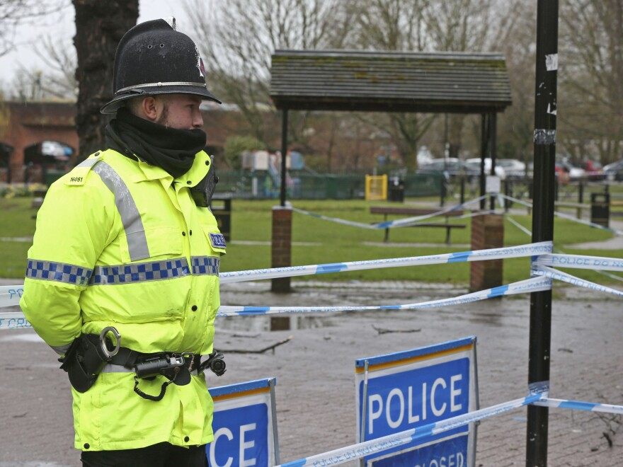 A police officer at a cordon in Salisbury, England, in March near to where Russian former double agent Sergei Skripal and his daughter Yulia were found on a bench after they were attacked with a nerve agent.