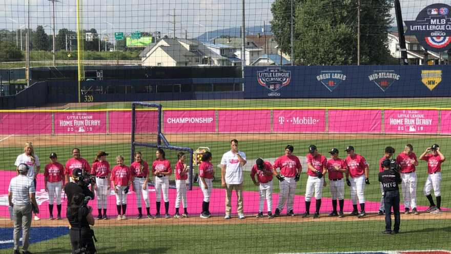Players line up for the Little League Home Run Derby at BB&T Ballpark in Williamsport, PA, Saturday.