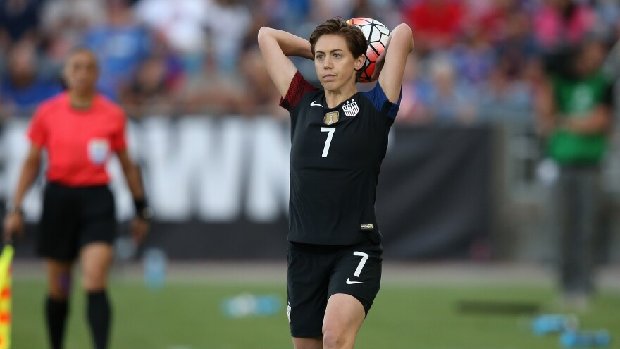 The U.S. women's national team — including Meghan Klingenberg, seen here in a game Thursday — doesn't have an option to strike, a federal judge says.