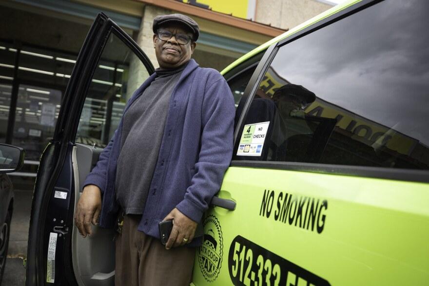 Merga Gemeda drives for ATX Co-op Taxi
