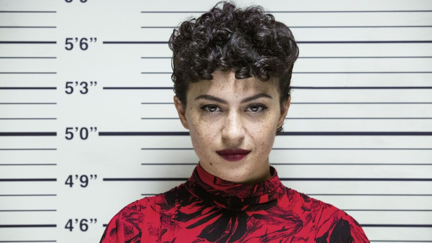 Dory (Alia Shawkat) faces the music (and the viewer) in the third season of <em>Search Party</em> on HBO Max.