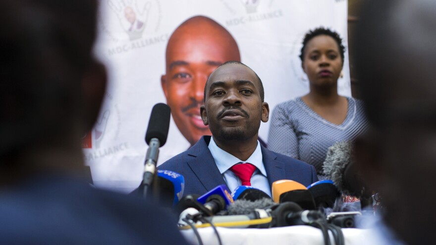 Nelson Chamisa addresses a news conference earlier this month in the capital, Harare. On Friday, Chamisa's opposition Movement for Democratic Change filed a legal challenge of the presidential election won by his opponent, incumbent President Emmerson Mnangagwa.