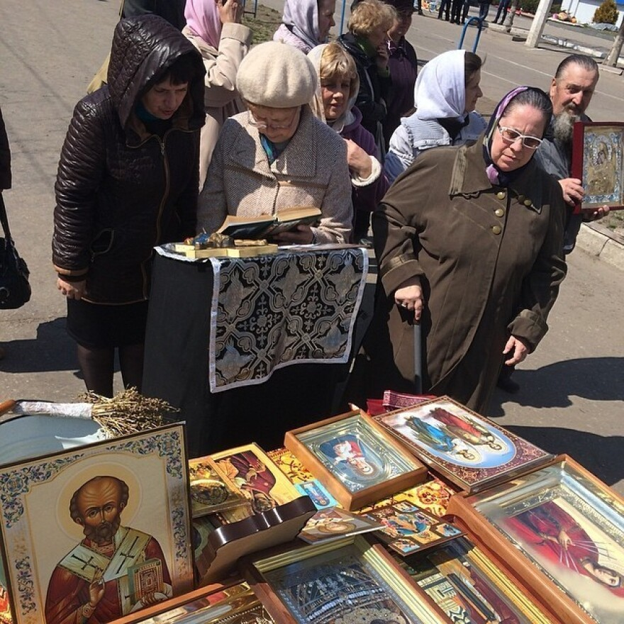 """One group of babushkas said they were """"praying for Luhansk to join Russia"""" and that they also wanted weapons."""