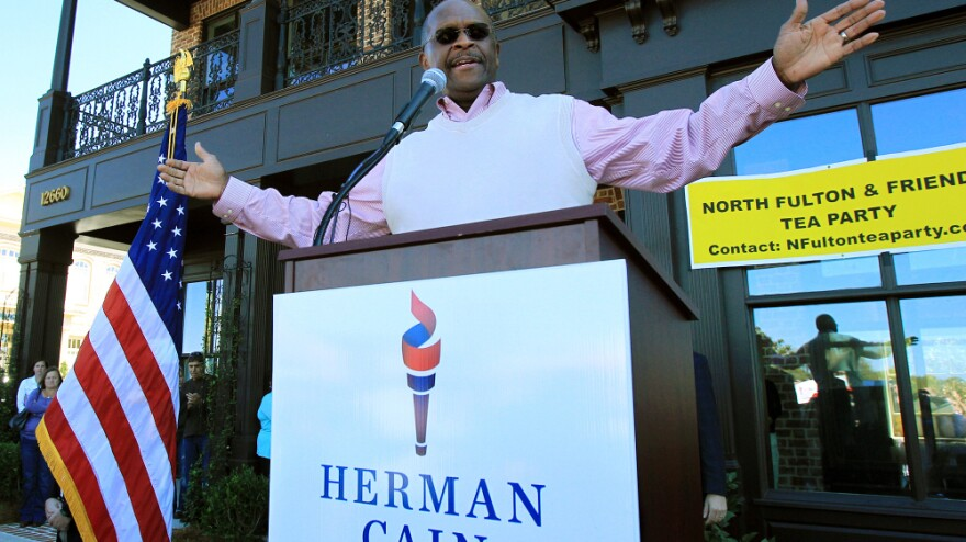 <p>Republican presidential candidate and former Godfather's Pizza CEO Herman Cain, fresh off a surprising win in Florida's straw poll, speaks to supporters as he campaigns and launches his new book in Milton, Ga., earlier this month.</p>