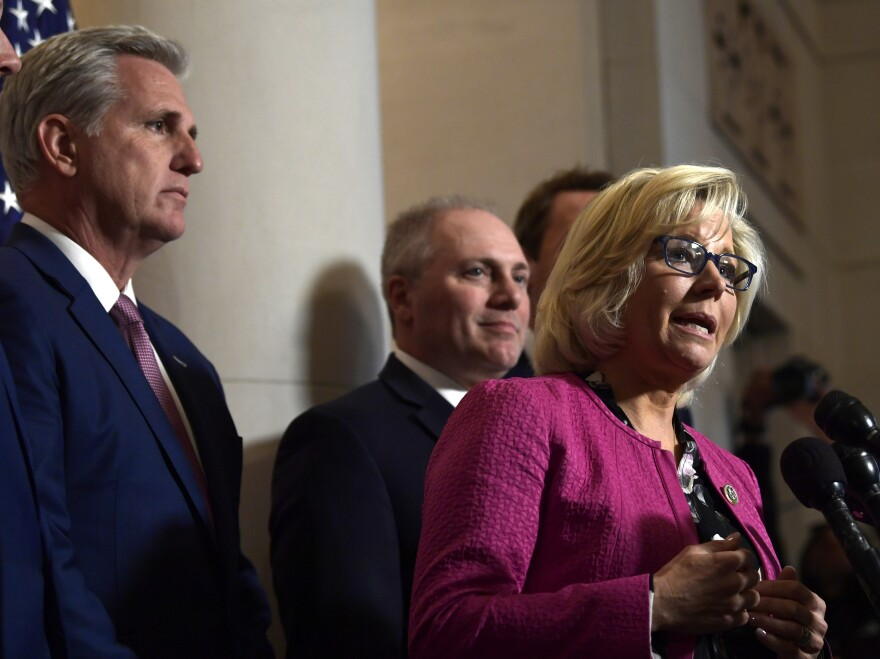 Newly elected House GOP Conference Chairwoman Liz Cheney, R-Wyo., has been a vocal critic of Rep. Steve King, R-Iowa.