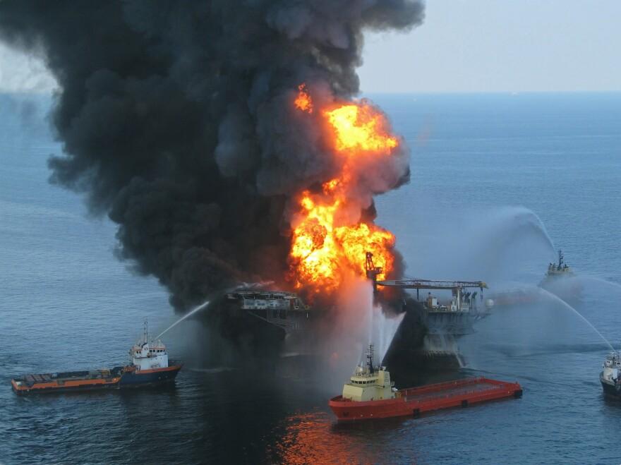 Deepwater Horizon drilling platform on fire in 2010.