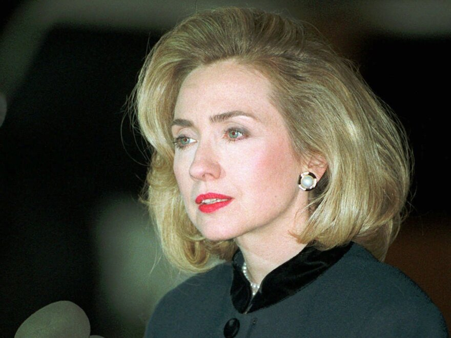 Hillary Rodham Clinton back in 1996 talking to reporters outside the U.S. District Court in Washington after testifying before a grand jury investigating Whitewater.