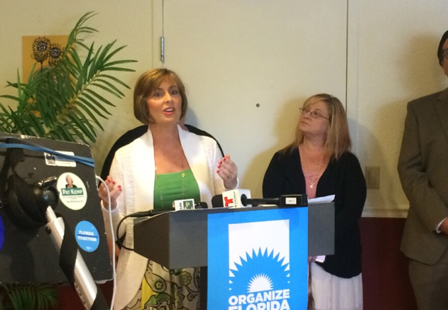 Kathy Castor speaks about proposed Medicaid cuts in Tampa on Tuesday.