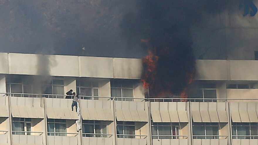 Guests used bedsheets to rappel down in an attempt to escape attackers at Kabul's Intercontinental Hotel on Sunday.