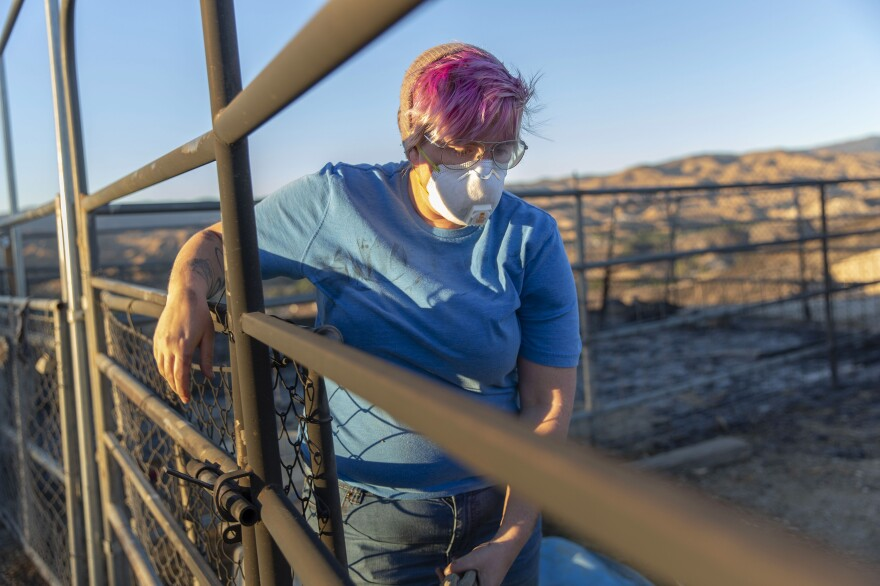 Hull and her partner, Sammi Lanthier, had lived on their farm, called La Granja, in Santa Clarita for three years. They lost almost everything in the fire, including the ashes of Hull's grandmother who died last year.