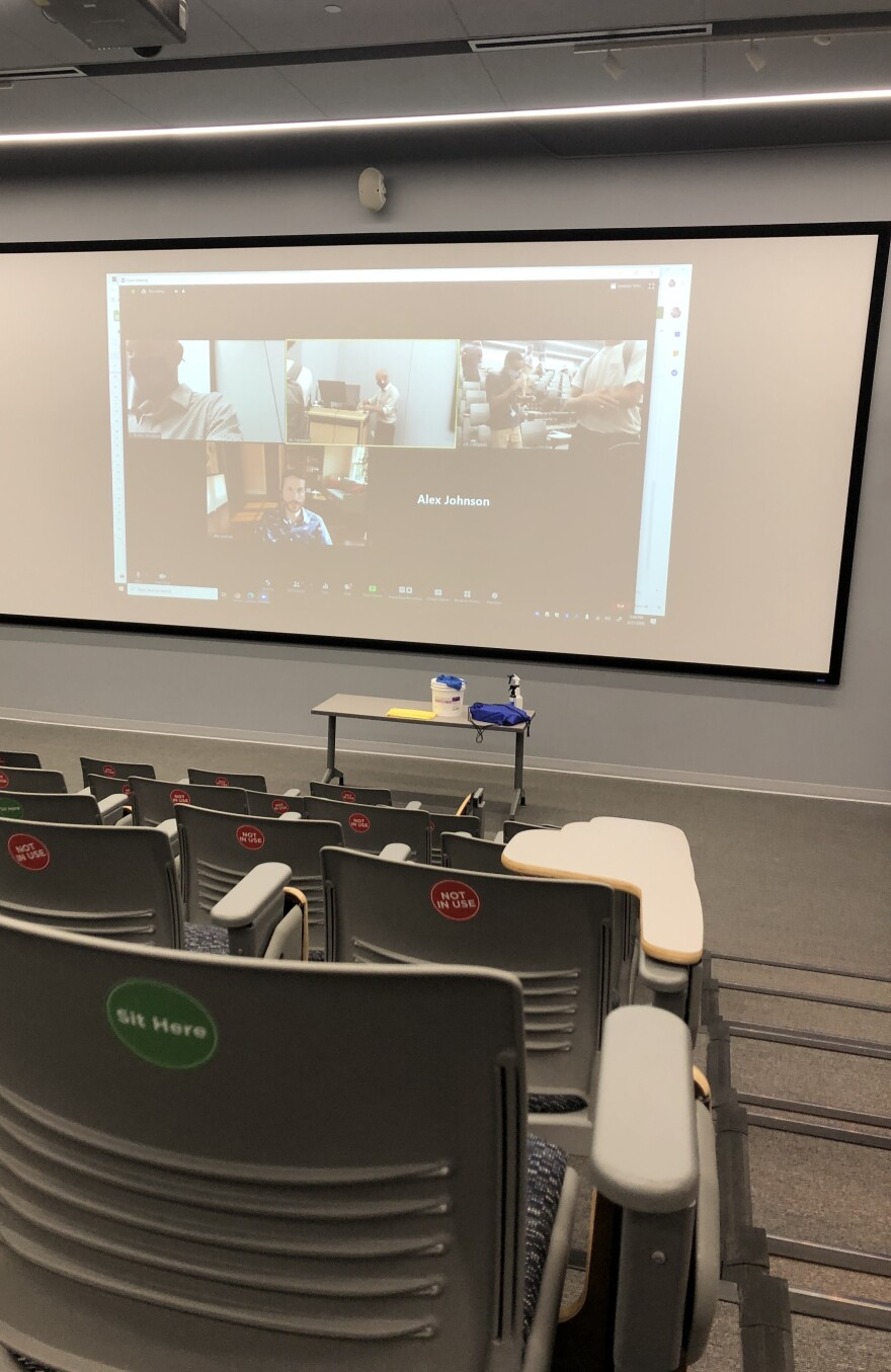 Kent State classroom seating with sticker markers