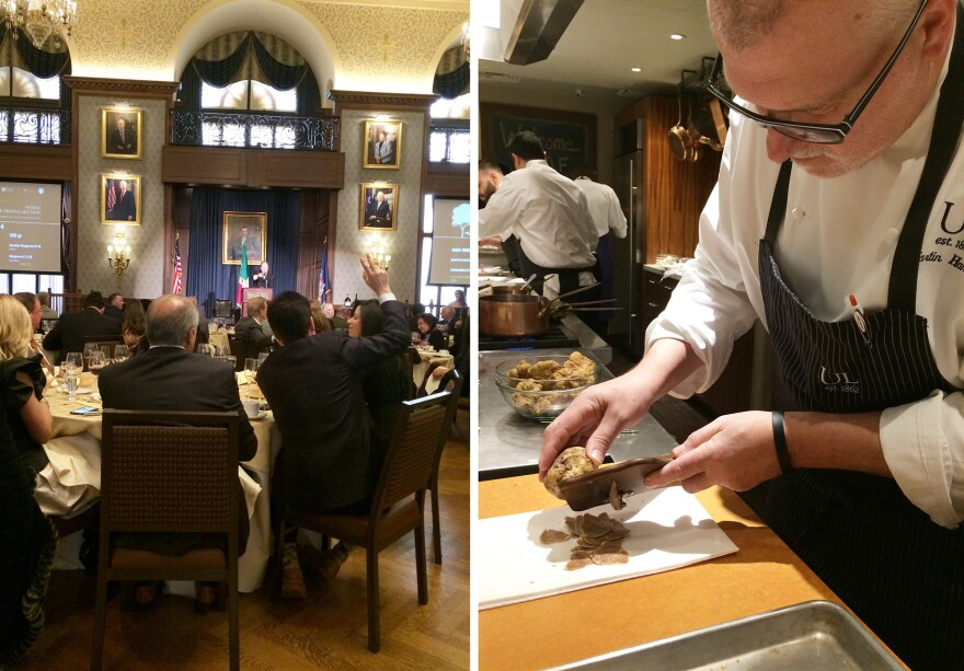 <strong>Left:</strong> Riccardo Longo of Gran Caffé L'Aquila in Philadelphia raises his hand to bid on a lot at the Alba White Truffle Charity Auction. <strong>Right:</strong> Executive chef Martin Hamann shaves white truffles in the kitchen at the Union League of Philadelphia.