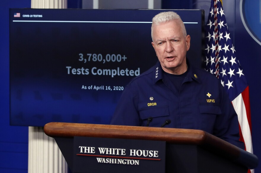 Adm. Brett Giroir, assistant secretary of Health and Human Services, speaks about the coronavirus in the James Brady Press Briefing Room of the White House on April 17. The Trump administration has released a plan to ramp up testing and Giroir says that plan is working.