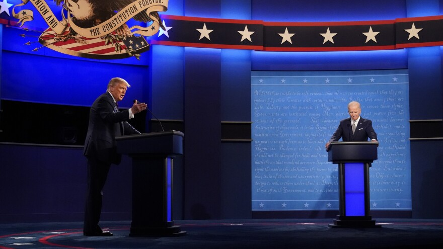 President Trump and Democratic presidential nominee Joe Biden square off during the first presidential debate on Tuesday.