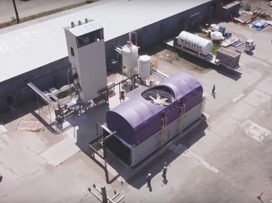 An aerial view of Carbon Engineering's direct air capture pilot plant in Squamish, British Columbia.