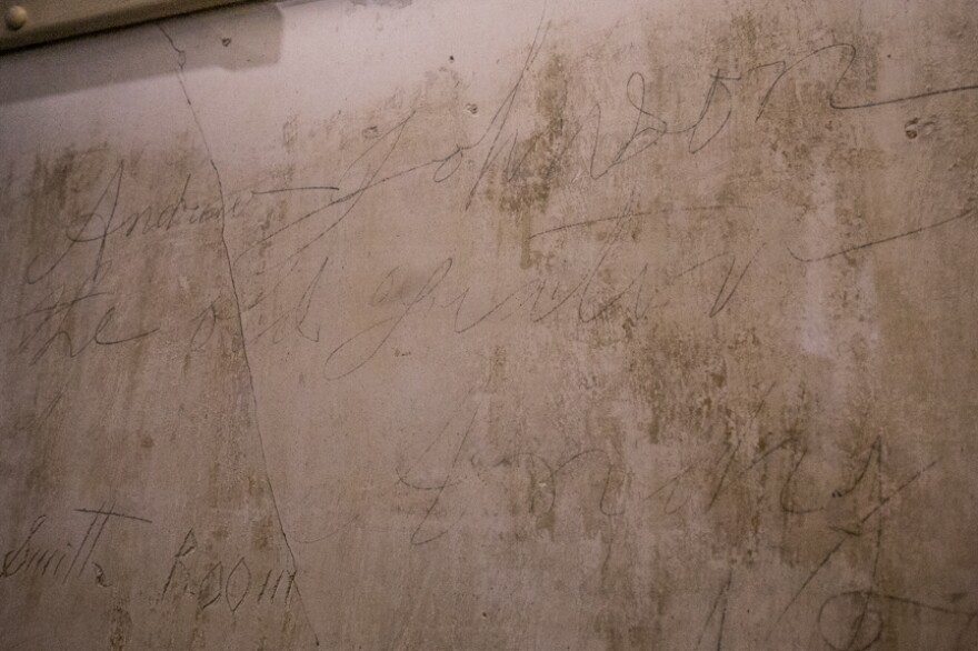 """Graffitti that reads """"Andrew Johnson the old traitor"""" is preserved on the wall of the 17th president of the United States' homestead in of Greeneville, Tenn. The home was occupied off and on by Confederate and Union soldiers after Johnson's family was forced out of it. Johnson reoccupied the house upon returning to Greeneville after his presidency."""