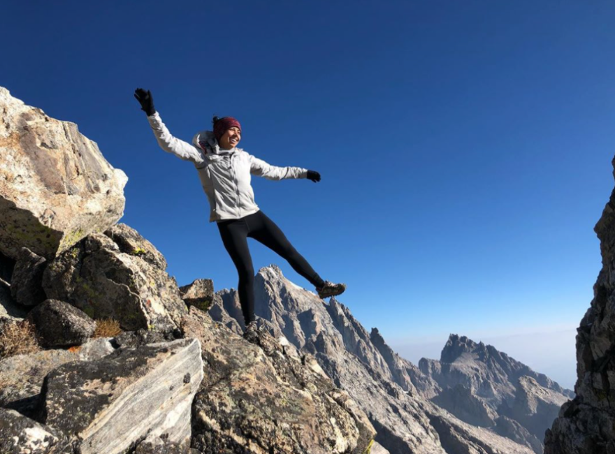 """Vanessa Chavarriaga says anti-geotagging campaigns are """"perpetuating who has access to nature, which has historically been White people."""" She posted this photo to Instagram from the Cloudveil Traverse in the Teton Range."""