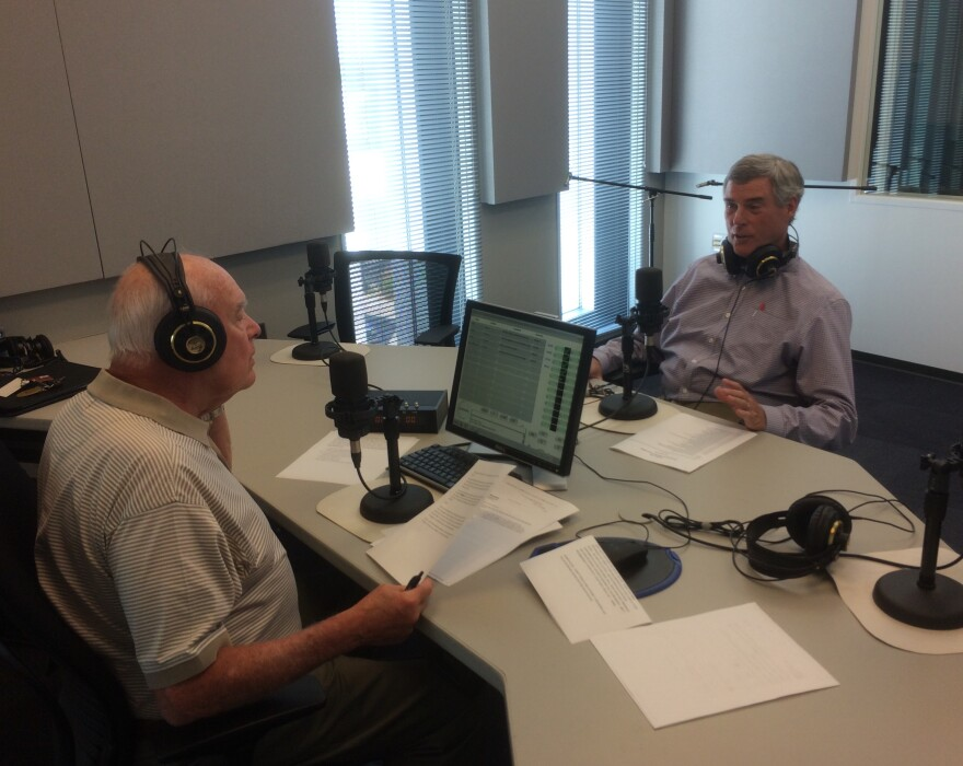 """St. Louis County Prosecuting Attorney Bob McCulloch, right, talks to """"St. Louis on the Air"""" host Don Marsh on Wednesday."""