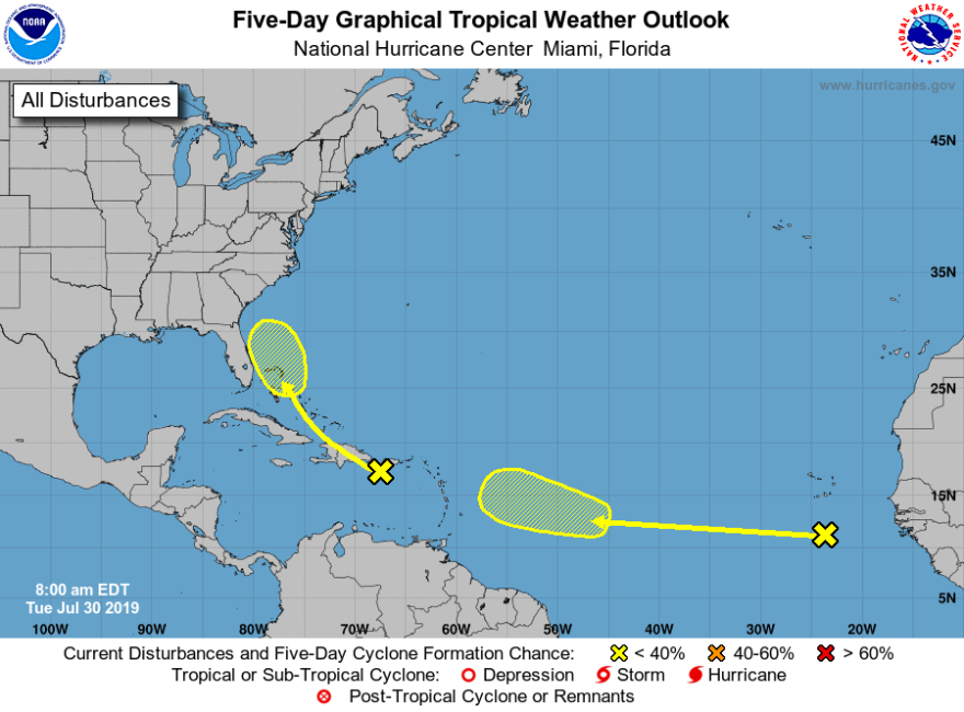 Forecasters with the National Hurricane Center are now monitoring two tropical waves that don't appear to have much chance of developing into tropical systems, but still serve as a reminder that we are in the midst of hurricane season.